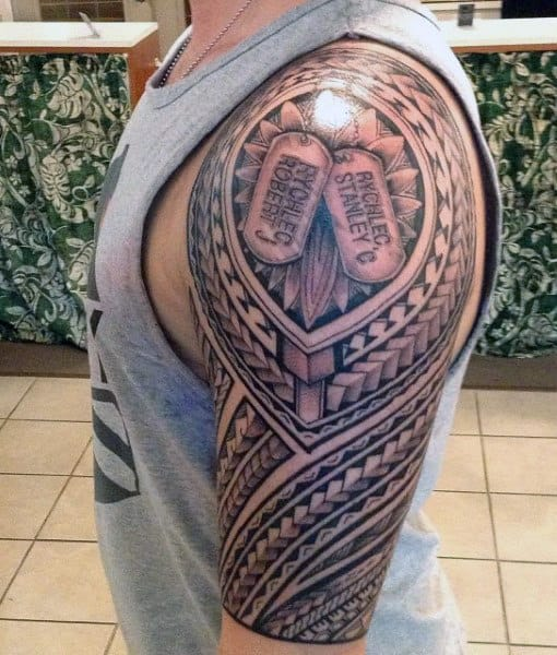 Tribal Sleeve Dog Tag Tattoos For Guys