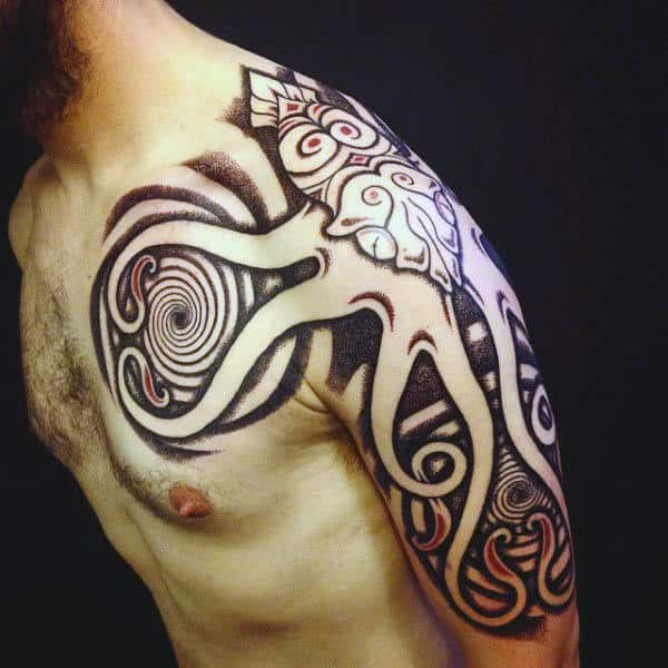Tribal Squid Tattoo For Men On Shoulder