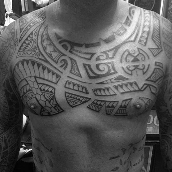 Tribal Style Male Polynesian Chest Tattoos