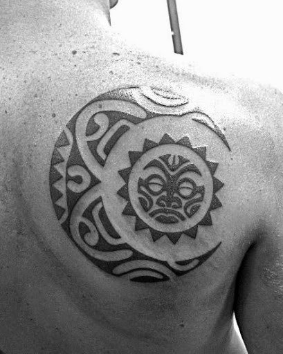 Tribal Sun And Moon Tattoos For Men On Back Of Shoulder
