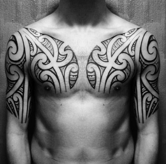 Tribal Tattoo Chest On Man