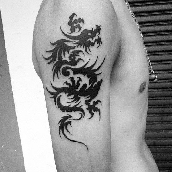 Tribal Tattoo Dragon For Guys On Upper Arms