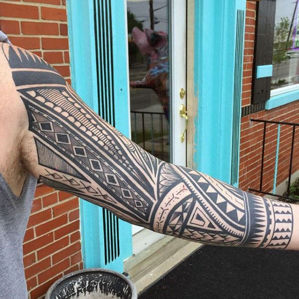 Tribal Tattoo On Arm Of Male Full Sleeve Designs