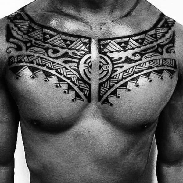Tribal Tattoos Arm And Chest On Male