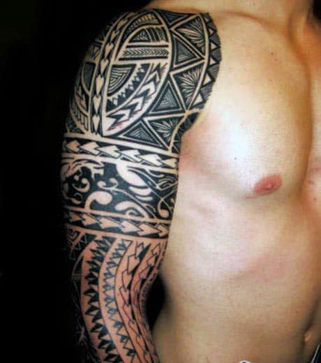 Top 60 best tribal tattoos for men symbols of courage - Tatouage tribal bras homme ...