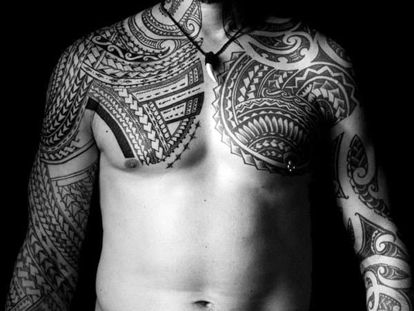 Tribal Tattoos On Shoulder And Chest Black Ink Designs