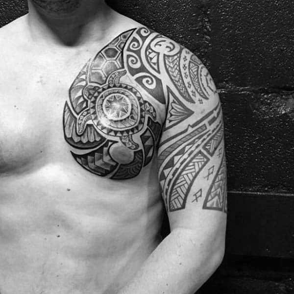Tribal Turtle Half Sleeve And Upper Chest Tattoos For Men