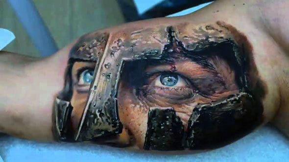 War Helmet Eyes Viking Tattoos For Males On Bicep