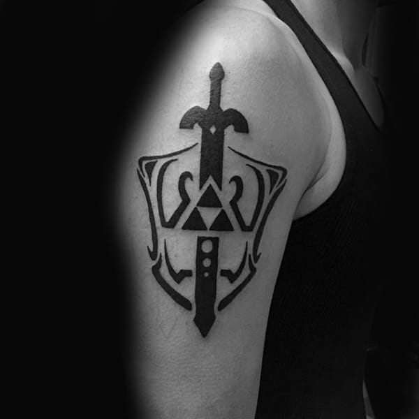 Tribal Zelda Sword With Shield Upper Arm Tattoos For Males