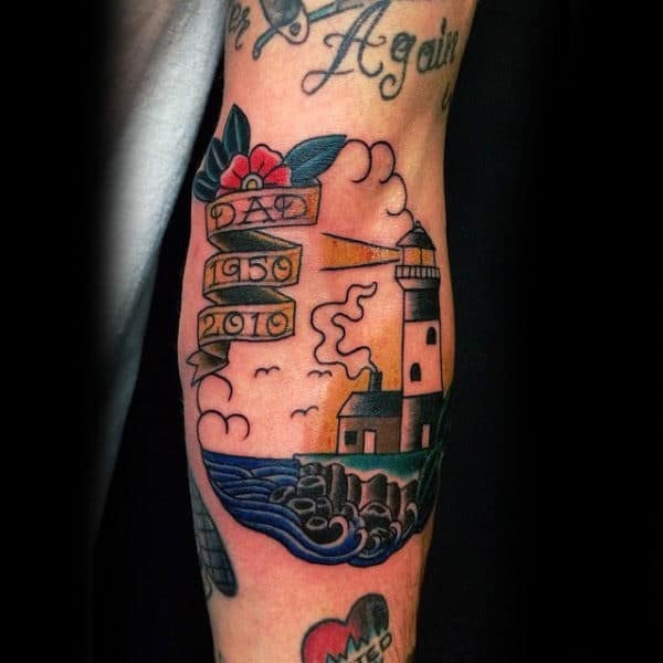 Tribute To Dad And Lighthouse Tattoo Male Forearms