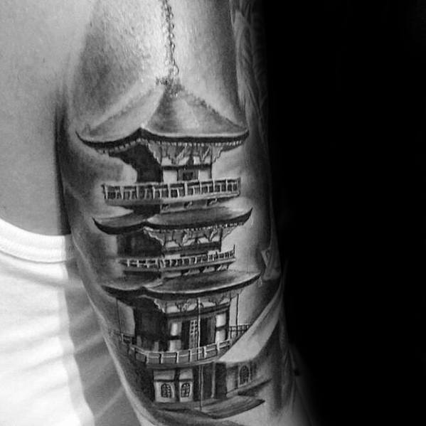 Tricep Back Of Arm Creative Pagoda Tattoos For Men