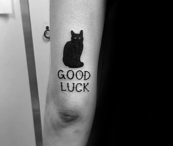 Tricep Black Cat Male Good Luck Tattoo Ideas