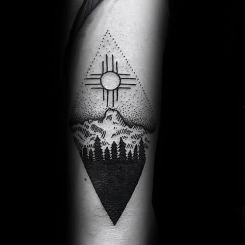 Tricep Black Triangle Mens Tattoo With Zia Design