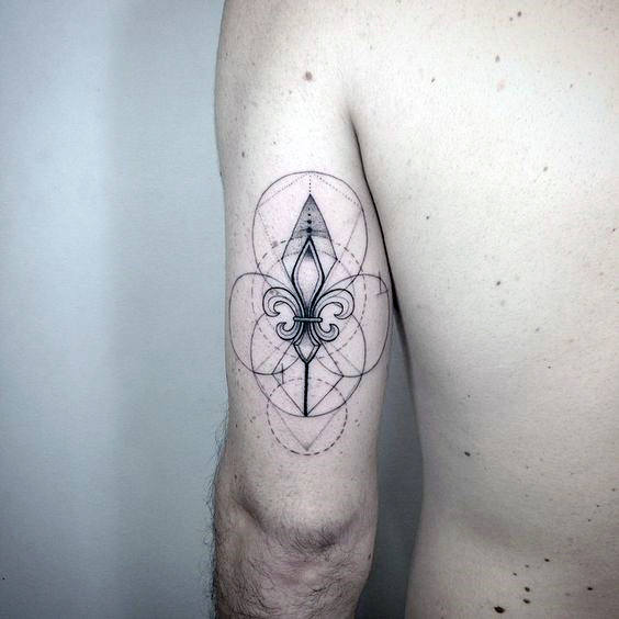 70 Fleur De Lis Tattoo Designs For Men Stylized Lily Ink Ideas