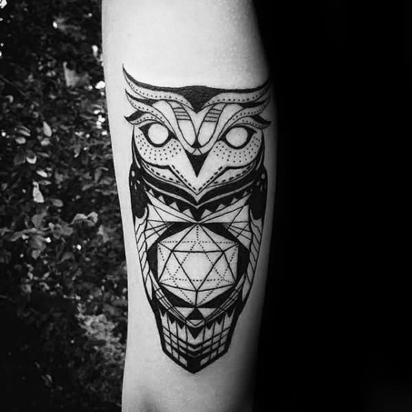 Tricep Geometric Owl Male Tattoo Ideas