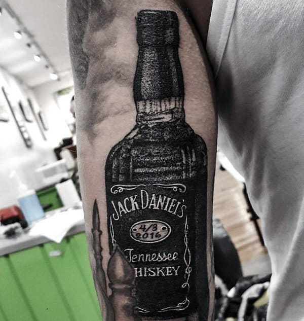 Tricep Mens Jack Daniels Tattoo Ideas