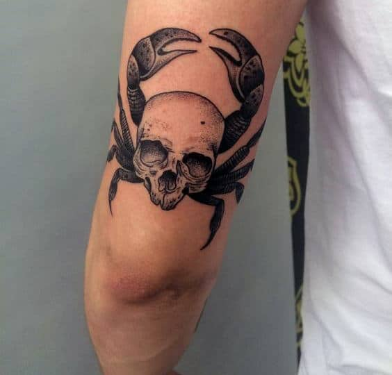 Tricep Mens Skull With Crab Tattoo Design