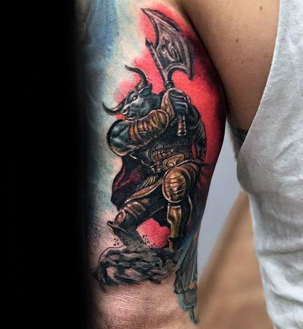 Tricep Minotaur Guys Tattoo Ideas