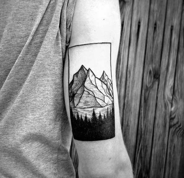 Tricep Mountains Mens Tree Line Tattoo Ideas