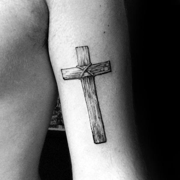 Tricep Wood Cross Simple Christian Mens Tattoos