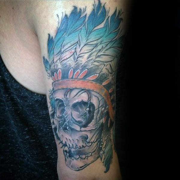 Triceps Indian Skull Male Tattoos