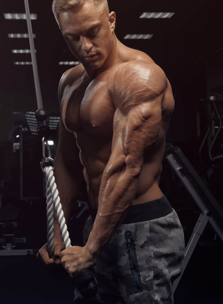 young muscular man doing rope triceps pushdown exercise in gym