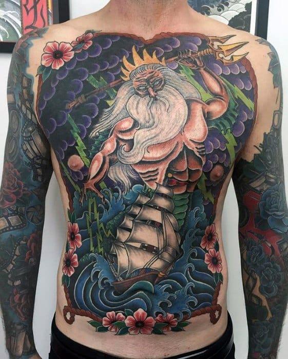 Trident Poseidon Greek God Full Chest Tattoos For Gentlemen