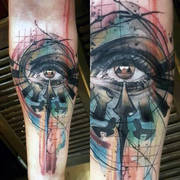 Triforce Abstract Eye Watercolor Male Inner Forearm Tattoos