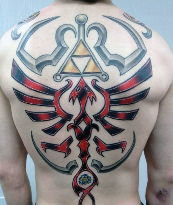 Triforce Guys Full Back Zelda Tattoos