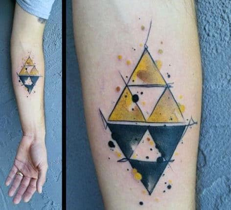 Triforce Mens Black And Yellow Watercolor Inner Forearm Tatoo