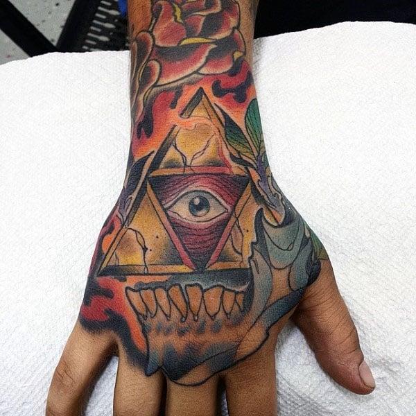 Triforce Mens Sull Hand Tato Designs