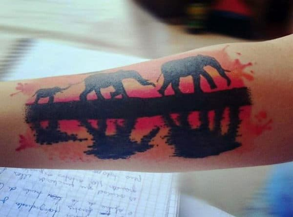 Trio Of Elephants On A Sunset Evening Tattoo Males Forearms