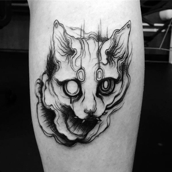 Trippy Cat Tattoos For Men On Leg