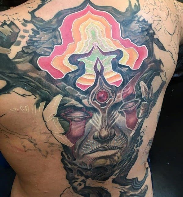 Trippy Psychedelic Back Tattoo On Men