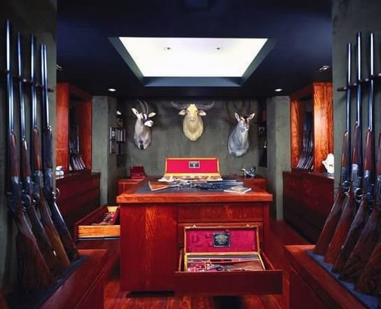 Trophy Gun Room Design In Basement Of Home