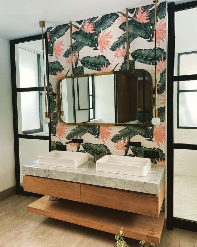 Tropical Bathroom Wallpaper Ideas Hummingbird Wallpaper