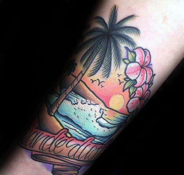 Tropical Beach Scene Wanderlust Banner Mens Inner Forearm Tattoo