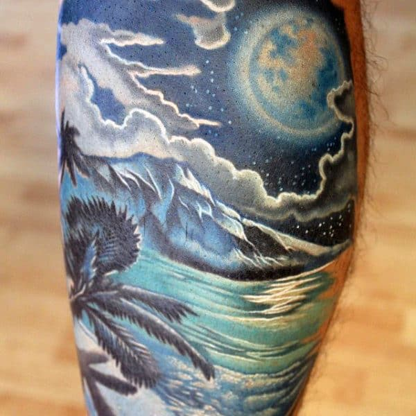 Tropical Beach Tattoo Designs For Men In Full Color