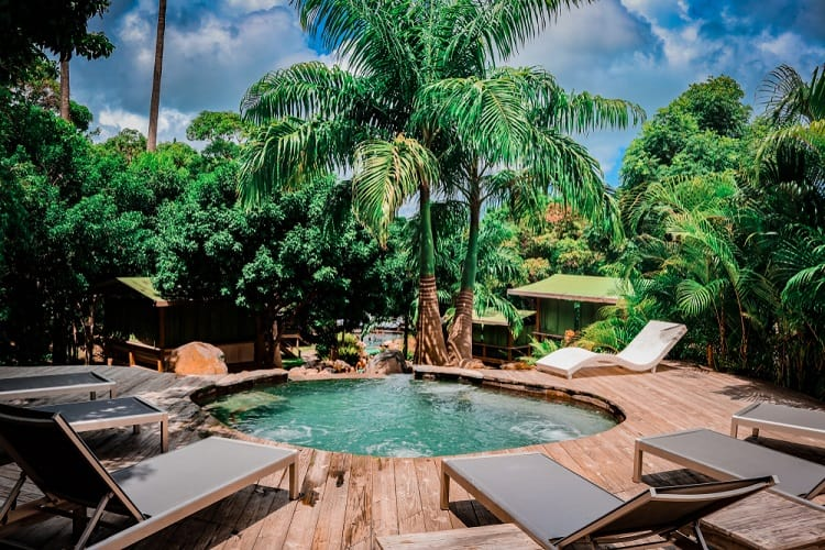 Tropical Cabana Above Ground Pool Wrapped Around Deck