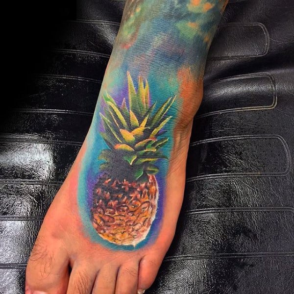 Tropical Fruit Pineapple Food Tattoo Male Foot