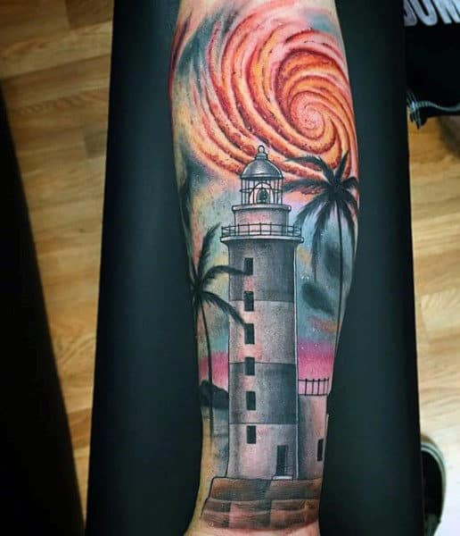 Tropical Lighthouse Tattoo For Men With Colors