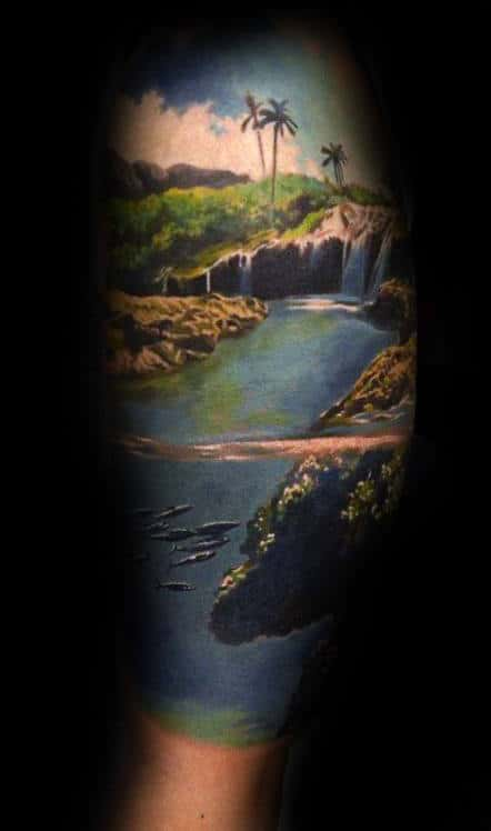 Tropical Lush Mens Landscape Sleeve Leg Tattoos