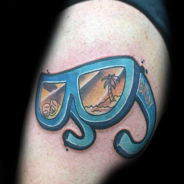 Tropical Mens Glasses Arm Tattoo