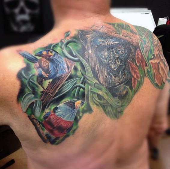 Tropical Rain Forest Gorilla Tattoo For Men On Upper Back With Color Ink