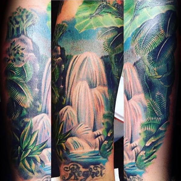 Tropical Rainforest Mens Waterfall Tattoos On Forearm
