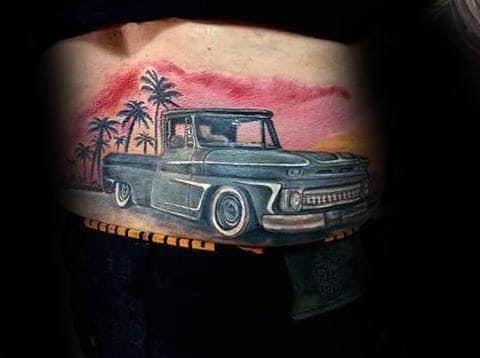 Tropical Sunset Mens Chevy Truck Back Tattoo Design Ideas