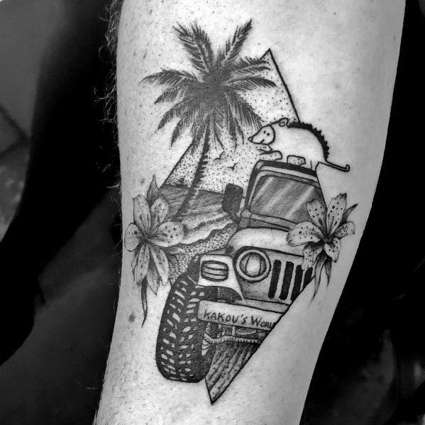 80 jeep tattoos for men automotive design ideas for Tropical themed tattoos