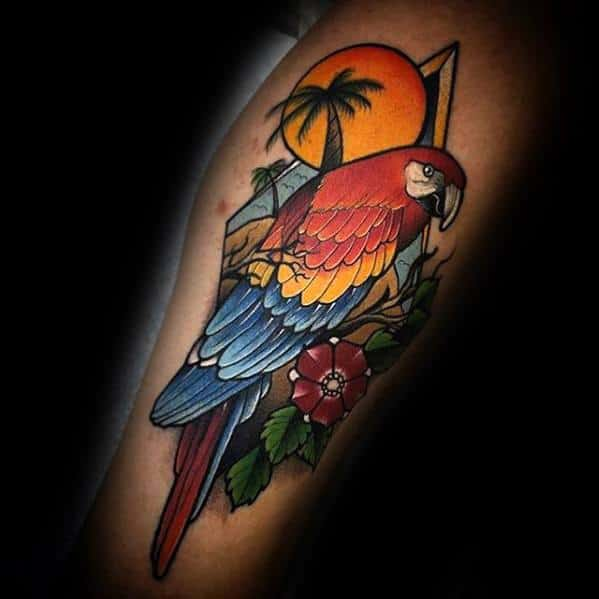 Tropical Themed Parrot Tattoos Men On Forearm