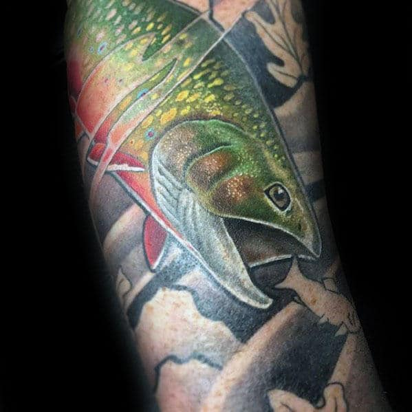 Trout Eating Small Fish Mens Sleeve Tattoo Design