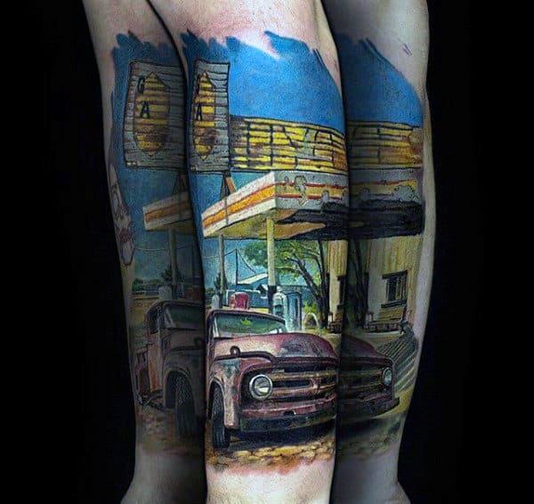 Truck At Gas Station Mens Forearm Tattoo With Colorful Design